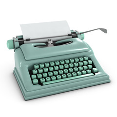 3d Typewriter with blank paper Front Left