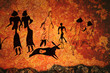 Leinwanddruck Bild - Cave painting of primitive commune