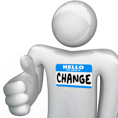 Nametag Hello My Name is Change Person Handshake