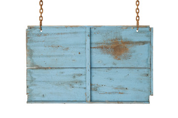 blue wooden sign