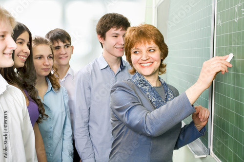 Teacher with a students