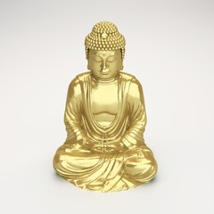 digital render of a golden buddha figurine