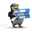 3d Penguin in glasses does some filing