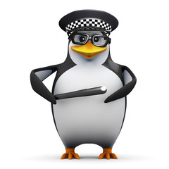 3d Penguin in glasses joined the police force