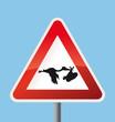 Schild Achtung Storch mit Baby