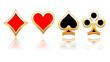 Bouton symbole de carte en or