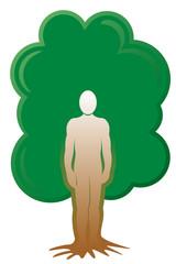 Baum Mensch Stamm Wurzeln Natur mit QXP 9 Datei