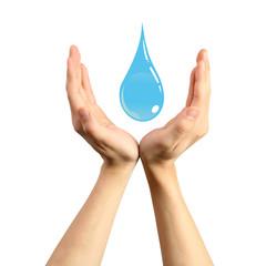 Mains protectrice d'une goutte bleue