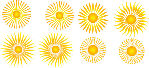 set of eight suns on white