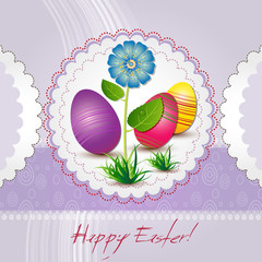 Easter card with colored eggs and blue flower