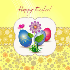 Easter card with flower, colored eggs and butterfly