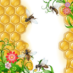 Background with bees, flowers and honeycomb