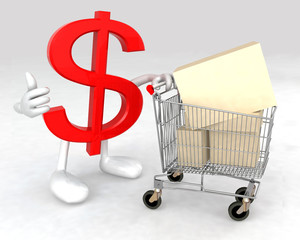 dollar symbol with a shopping cart