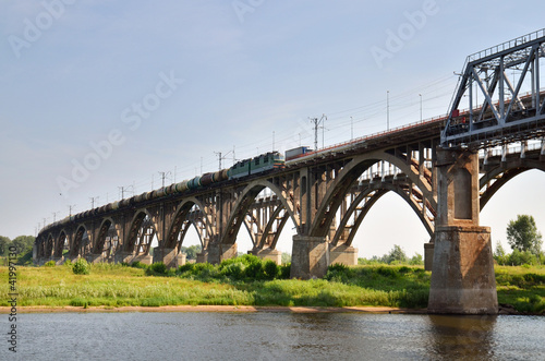 big bridge through the river Volga in Russia