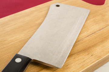 Wooden Chopping Board and Cleaver.
