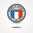 "Label ""made in france 100% quality"" with france flag"
