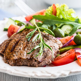 Fototapety Grilled Beef Steak with Vegetable Salad