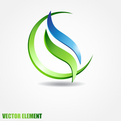 Vector sphere with two waves inside. Eco concept.
