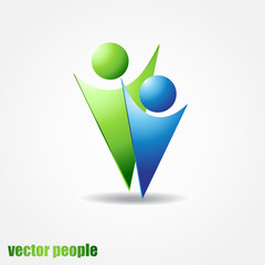 Vector icon of two people in blue and green colors