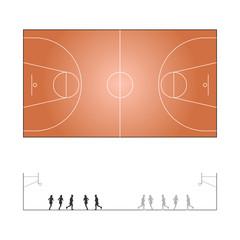 Basketballfeld mit Ansicht