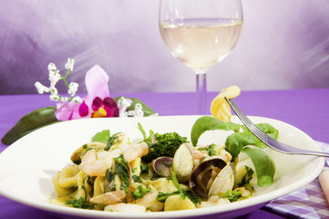 Orecchiette with broccoli with seafood