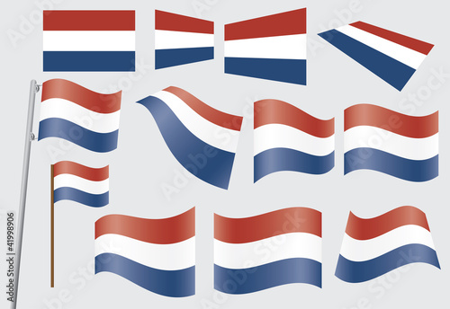 set of flags of the Kingdom of the Netherlands