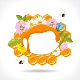 background with honeycomb, honey, flowers and  bees