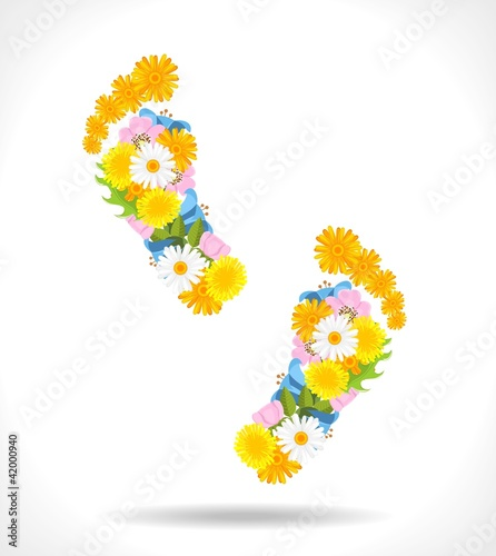 abstract footprints composed from flowers