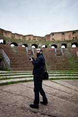 Tourist in Roman Amphitheater