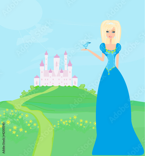 Papiers peints Chateau Beautiful young princess in front of her castle