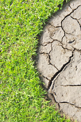 Cracked Earth and green grass. Dried Ground Texture