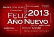 Feliz Año Nuevo 2013 internacional traducción nube de etiquetas