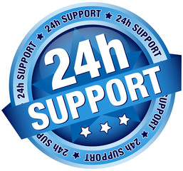 "Button Banner ""24h Support"" Blue"