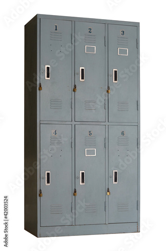 old grey metal locker used in gyms or pool