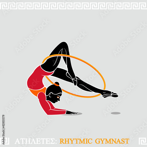 Greek art stylized arm-balanced gymnast with hoop