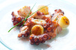 Octopus appetizer with small potatoes.