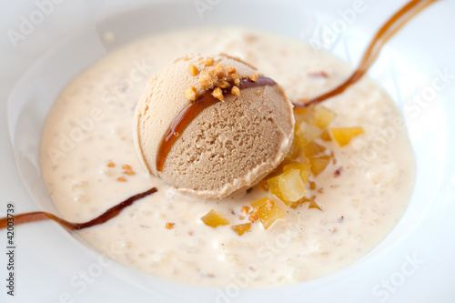 Rice pudding with toffee ice cream.