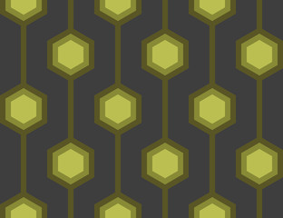 Retro Hexagons Green Seamless Tile