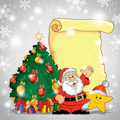 Santa Claus with star and tree
