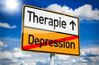 Ortseingangsschild mit Therapie und Depression