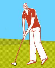 golfer mit rotem hemd