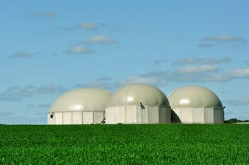 Three BioGas tanks.