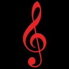 Violinschlüssel rot auf schwarz