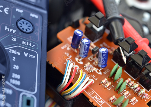 Technology background, electronic circuit close up