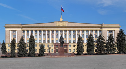 House of Soviets and Monument to Lenin in Lipetsk, Russia