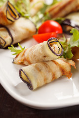 Eggplant rolls stuffed with cottage cheese