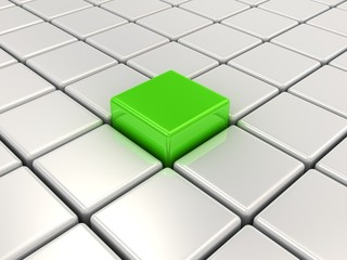 Green cube among white