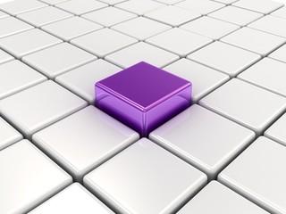 Purple cube among white