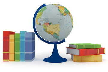 Colorful books for learning and globe