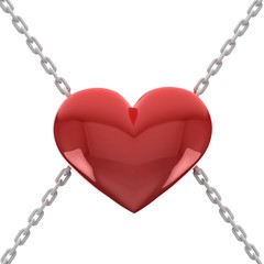 Red heart with chains